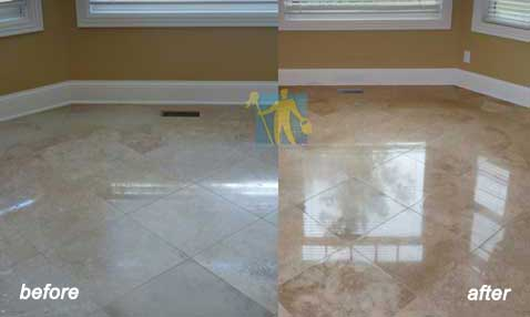 before and after Porcelain Stone Floor Restoring and Cleaning