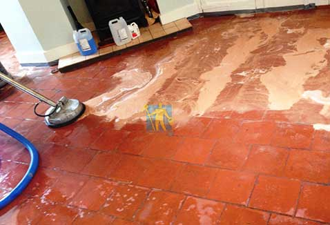 Quarry Tiles Floor Cleaning before and after