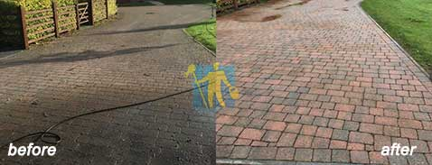 cleaning sandstone tiles on street good look before and after