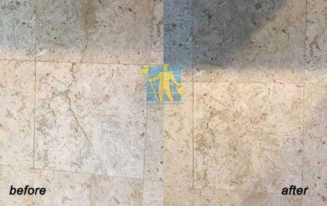 before and after Cracking in travertine tile